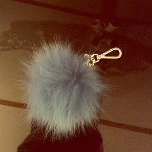 Teal Michael Kors Puffball keychain